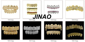 Wholesales JINAO New Custom Fit Gold Color Plated Hip Hop Teeth Grillz Caps Fangs Top & Bottom Grill Set for Party vampire teeth