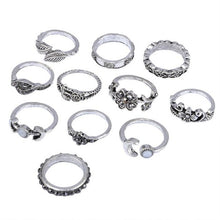 Load image into Gallery viewer, 11pcs/Set Women Bohemian Vintage Silver Stack Rings Above Knuckle Blue Rings Set Totems 11 piece suit Combination suit Ring #45