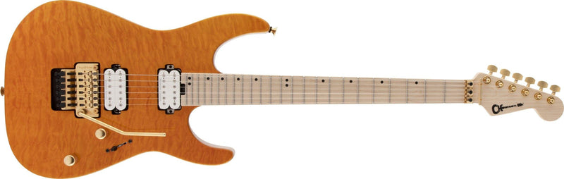 Charvel Pro-Mod DK24 HH FR M Mahogany with Quilt Maple - Dark Amber - Safe Haven Music Guitars