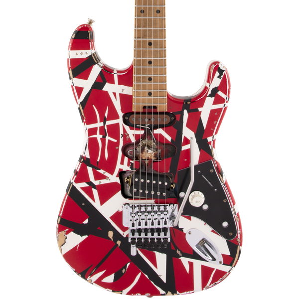 EVH Striped Series Frankie - Red/White/Black Relic - Safe Haven Music Guitars