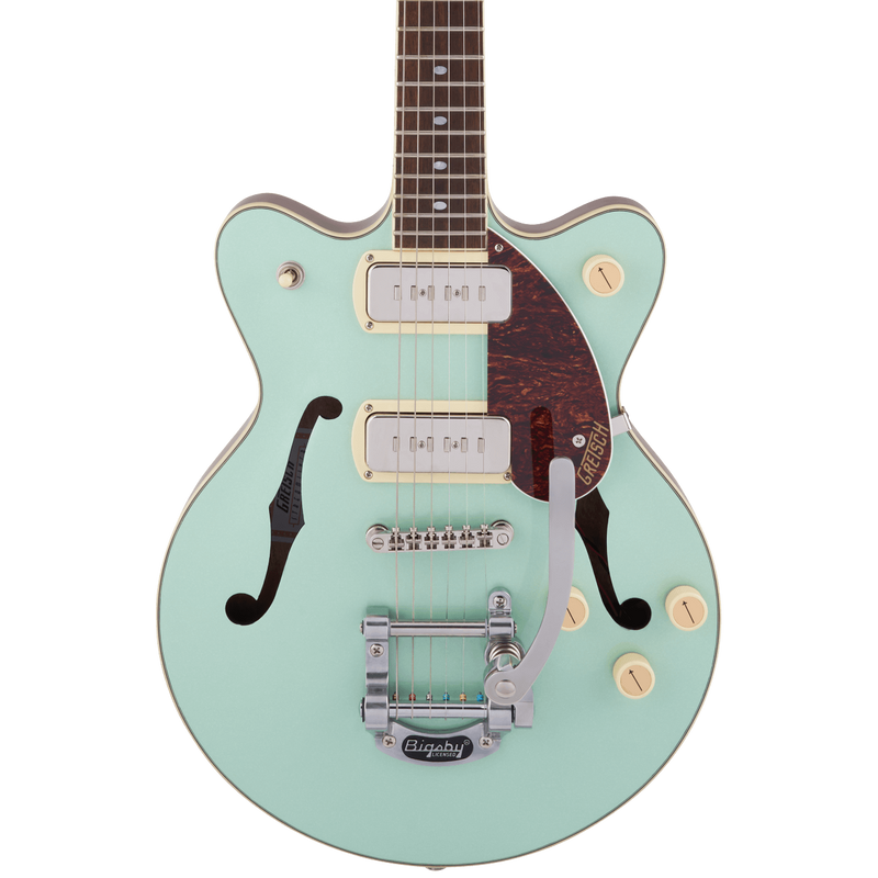 Gretsch G2655T-P90 Streamliner Center Block Jr. Double-Cut P90 with Bigsby - Two-Tone Mint Metallic and Vintage Mahogany Stain