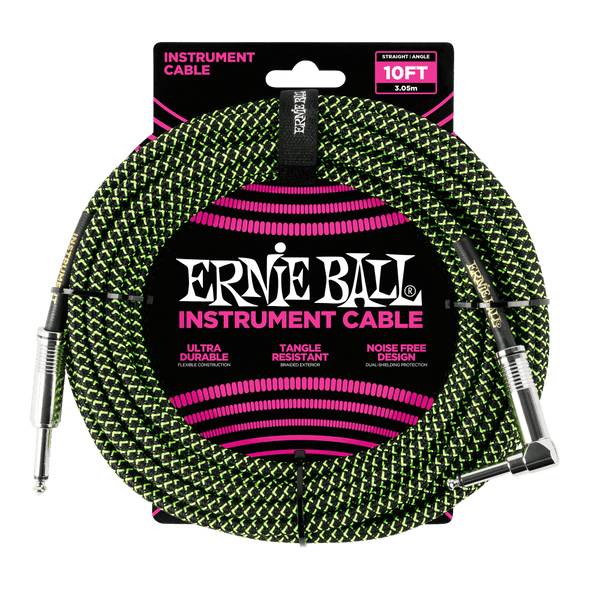Ernie Ball 10' Braided Straight / Angle Instrument Cable - Black / Green