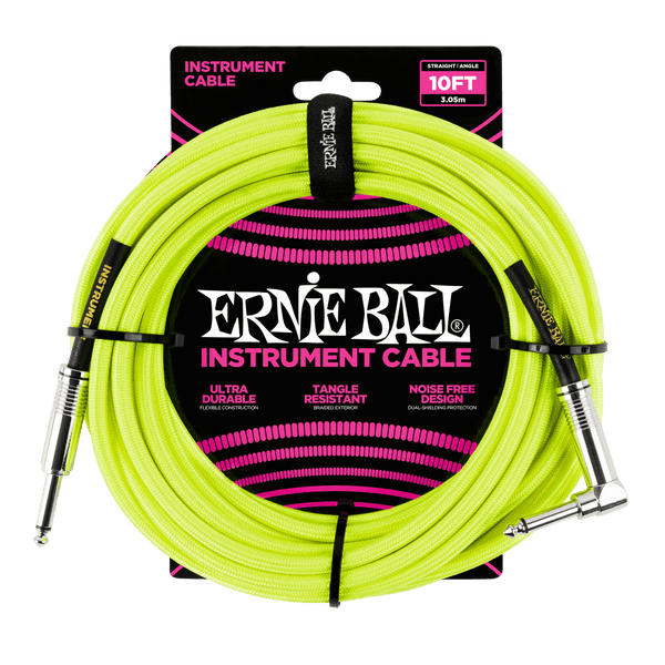 Ernie Ball 10' Braided Straight / Angle Instrument Cable Neon - Yellow