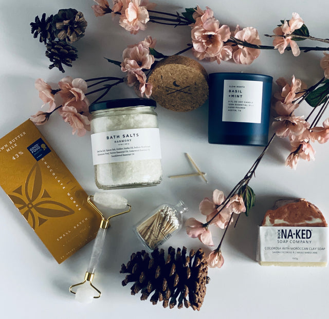 Wilma & Rose Candles, Bath Salts, Chocolate, Soap, Facial Roller and Matches