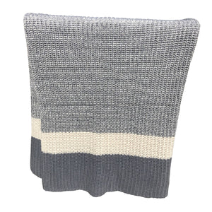 Chloe & Lex - Rib Striped Throw Gray