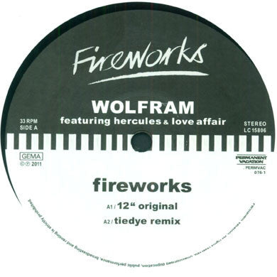 Wolfram: Fireworks feat. Hercules And Love Affair (Tiedye, Axel Boman) 12""