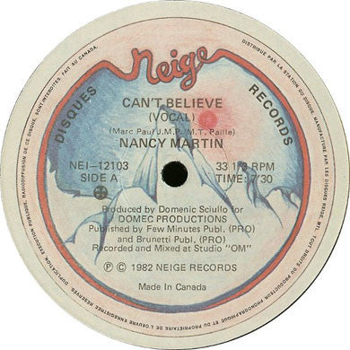 Nancy Martin: Can't Believe 12""