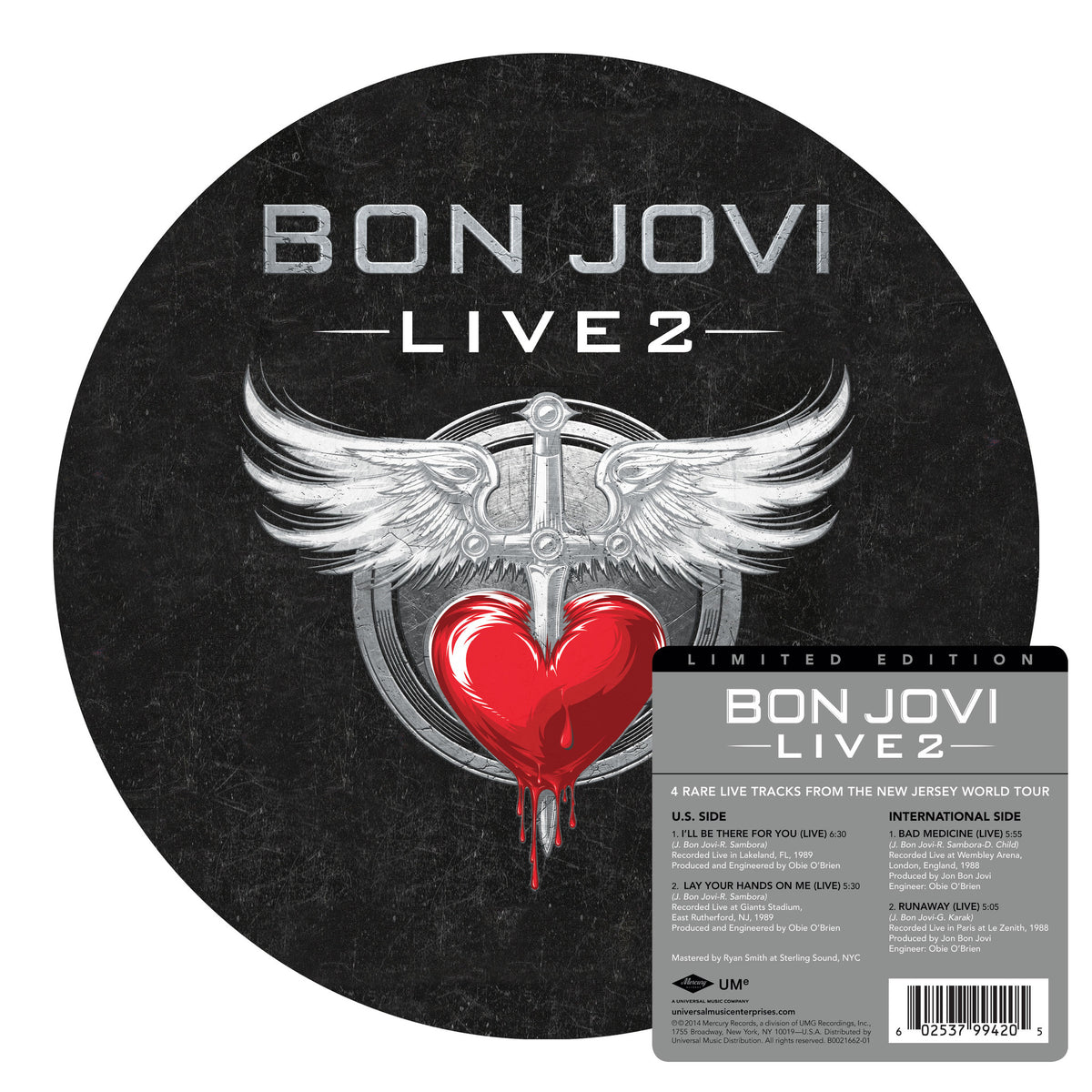 "Bon Jovi: Live 2 (Picture Disc) Vinyl 12"" (Record Store Day)"