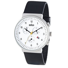 Braun: Men's Analog Chronograph Watch - White Face / Black Band (BN-35WH)