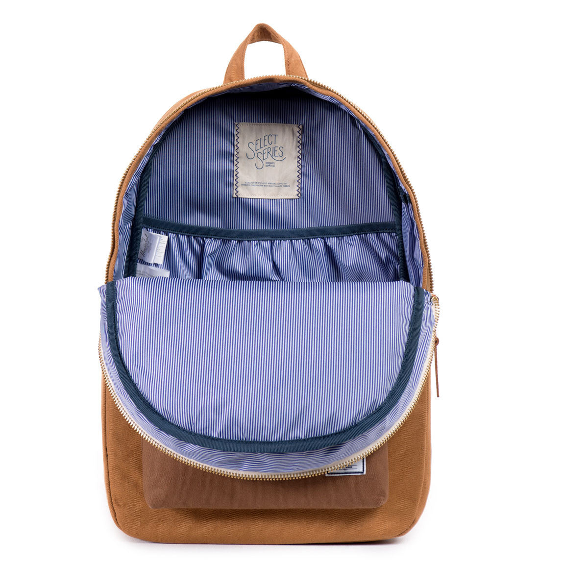 Herschel Supply Co.: Settlement Backpack - Caramel Coated Cotton Canvas (Select Series) open