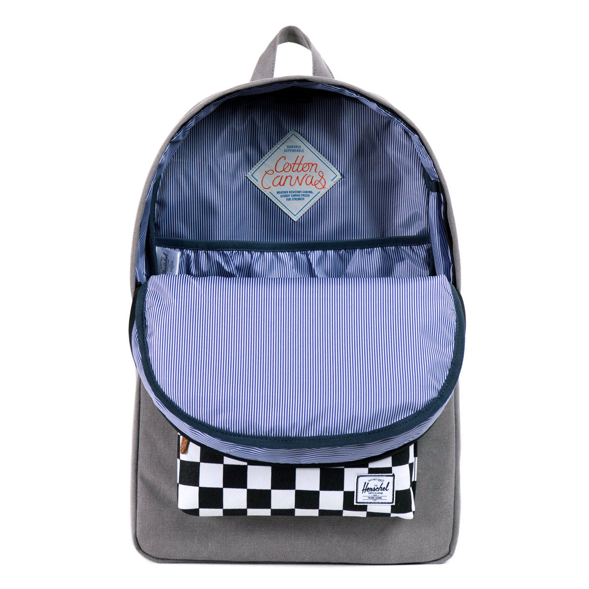 Herschel Supply Co.: Heritage Backpack - Washed Black / Checkerboard open