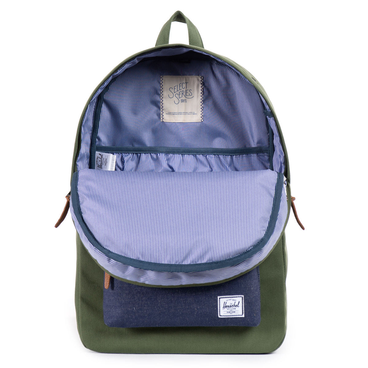 Herschel Supply Co.: Heritage Backpack - Army Coated Cotton Canvas / Indigo Denim (Select Series) open