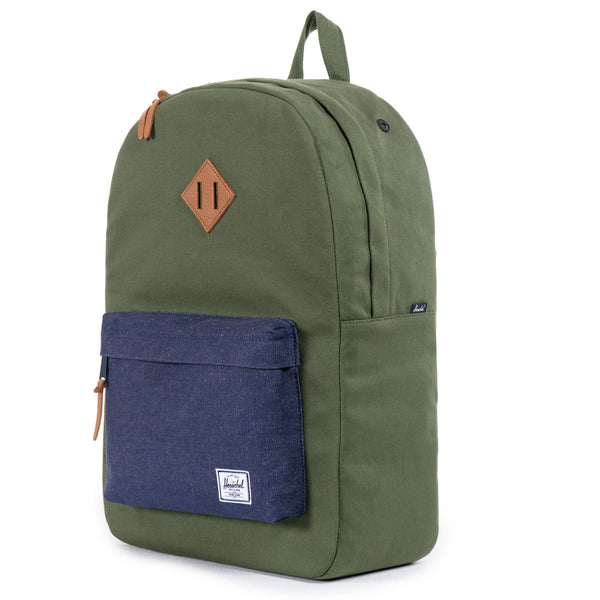 Herschel Supply Co.: Heritage Backpack - Army Coated Cotton Canvas / Indigo Denim (Select Series) angle