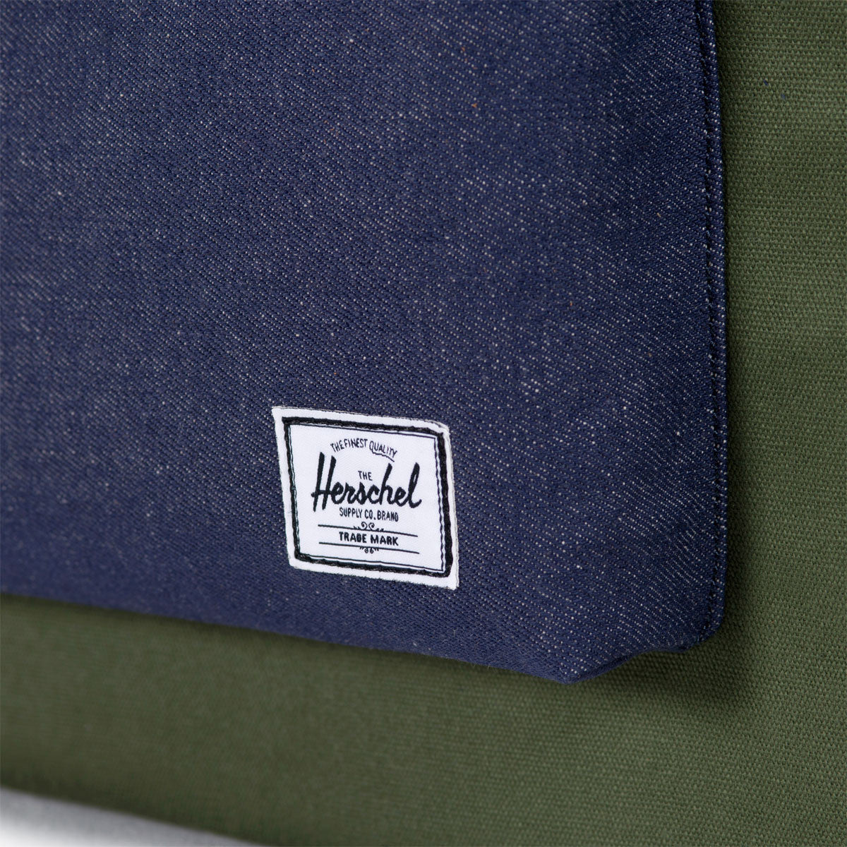Herschel Supply Co.: Heritage Backpack - Army Coated Cotton Canvas / Indigo Denim (Select Series) detail 1