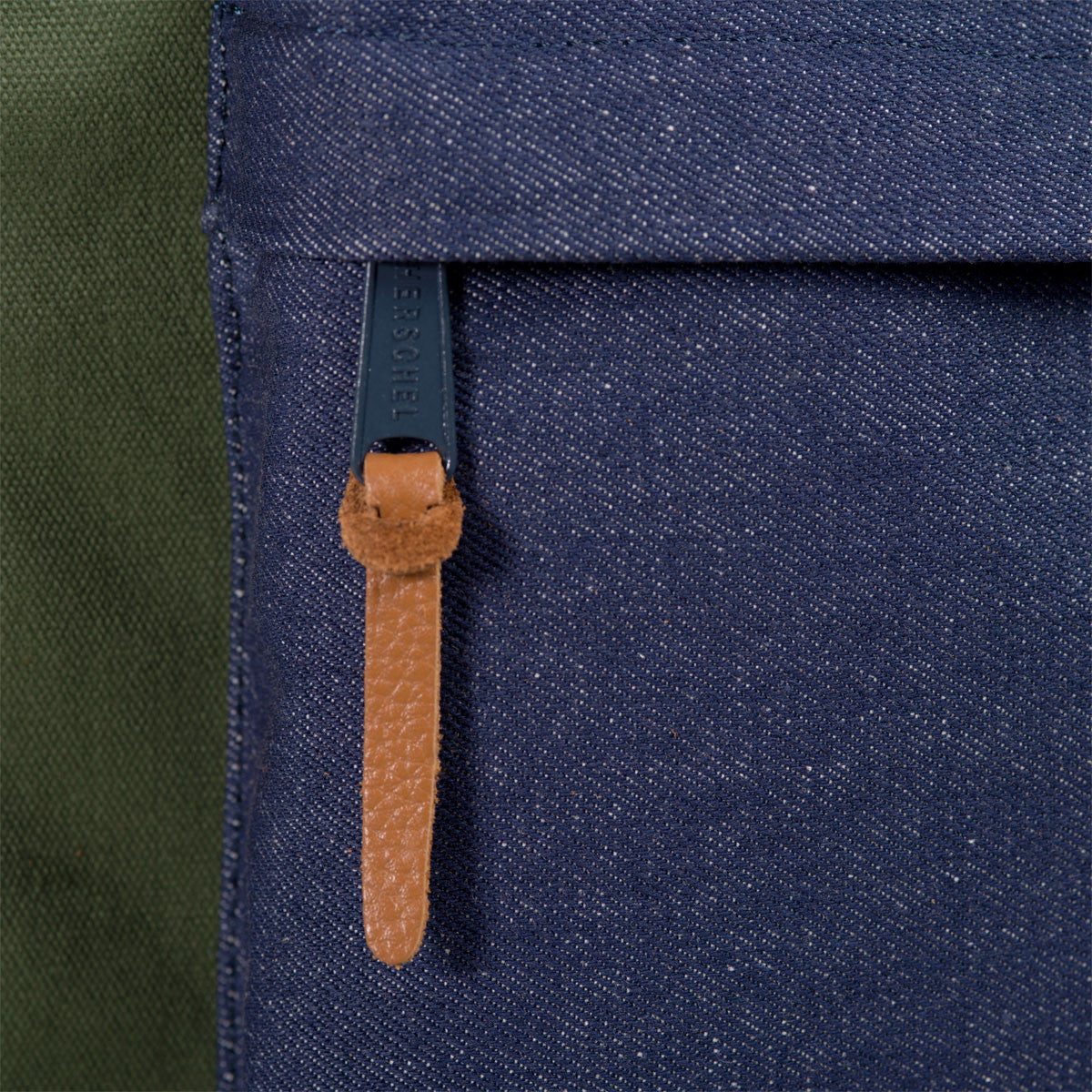Herschel Supply Co.: Heritage Backpack - Army Coated Cotton Canvas / Indigo Denim (Select Series) detail 2