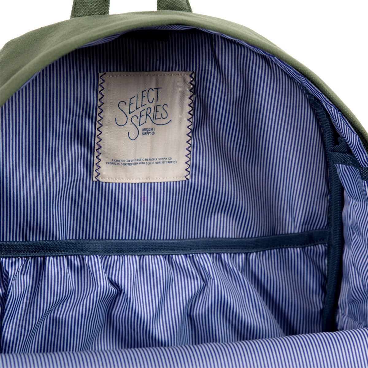 Herschel Supply Co.: Heritage Backpack - Army Coated Cotton Canvas / Indigo Denim (Select Series) detail 6
