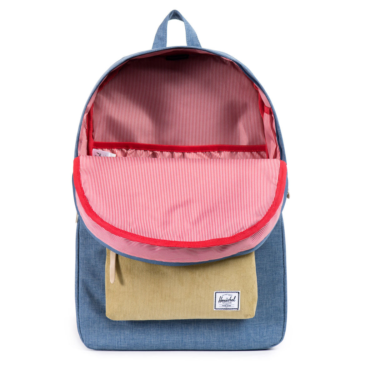Herschel Supply Co.: Heritage Backpack - Navy / Straw Crosshatch (Ranch) open