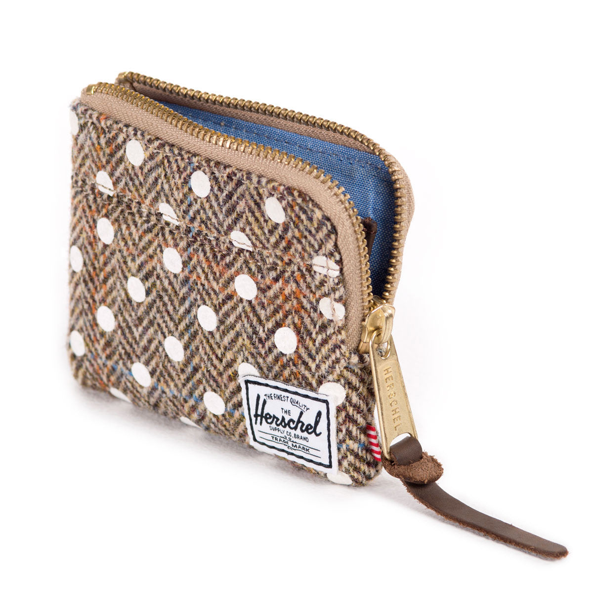 Herschel Supply Co.: Johnny Wallet - Harris Tweed / White Polka Dot open