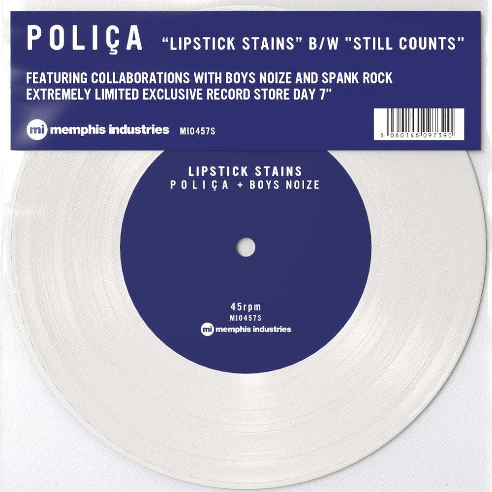 "Polica: Lipstick Stains / Still Counts (Colored Vinyl) Vinyl 7"" (Record Store Day)"