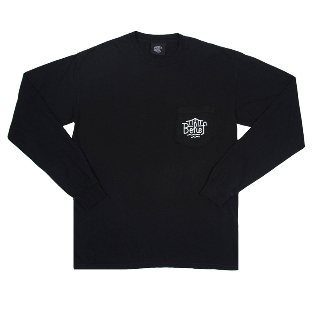 Belief: Triboro Longsleeve Pocket Shirt - Black
