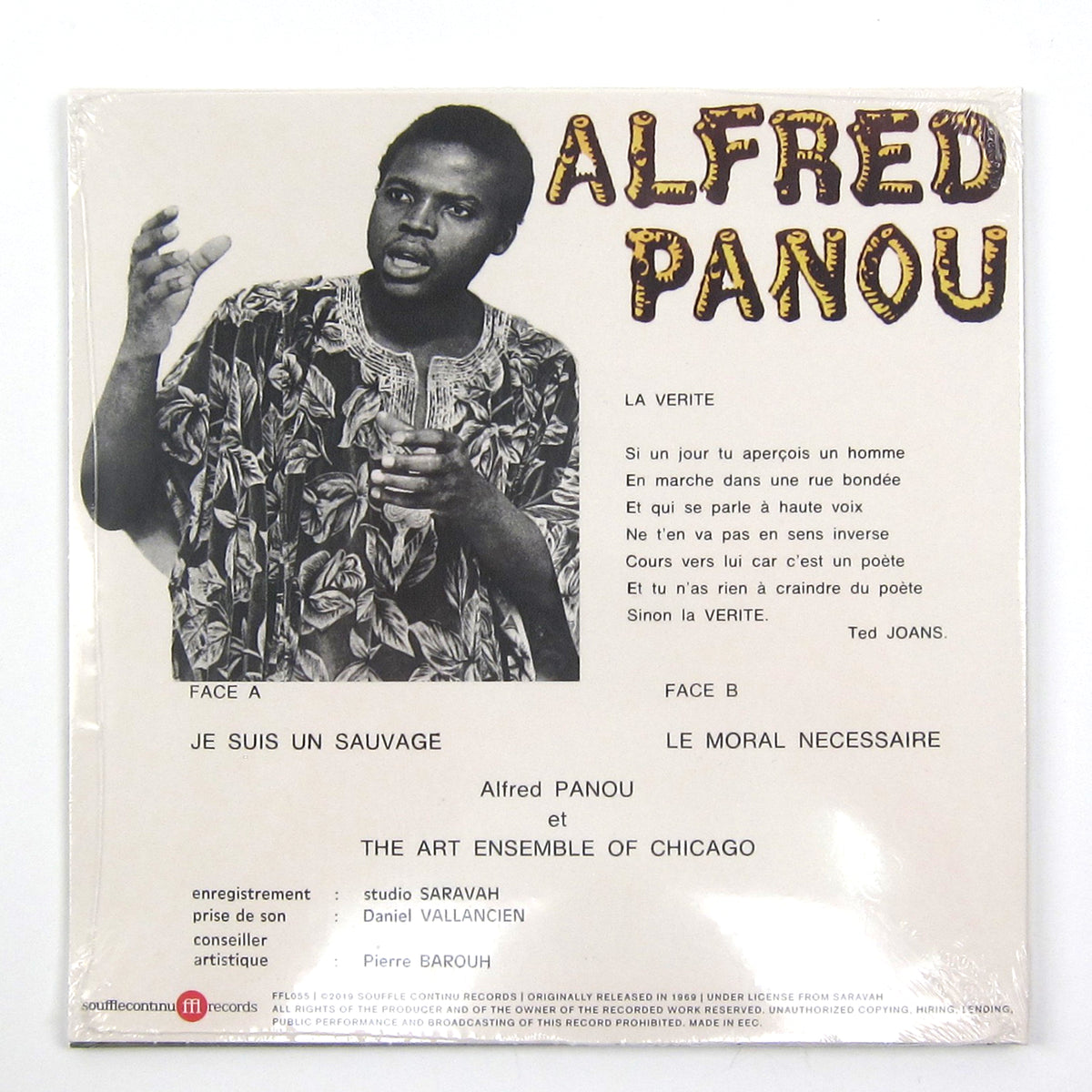"Alfred Panou & The Art Ensemble Of Chicago: Je Suis Un Sauvage/Le Moral Necessaire Vinyl 7"" (Record Store Day)"