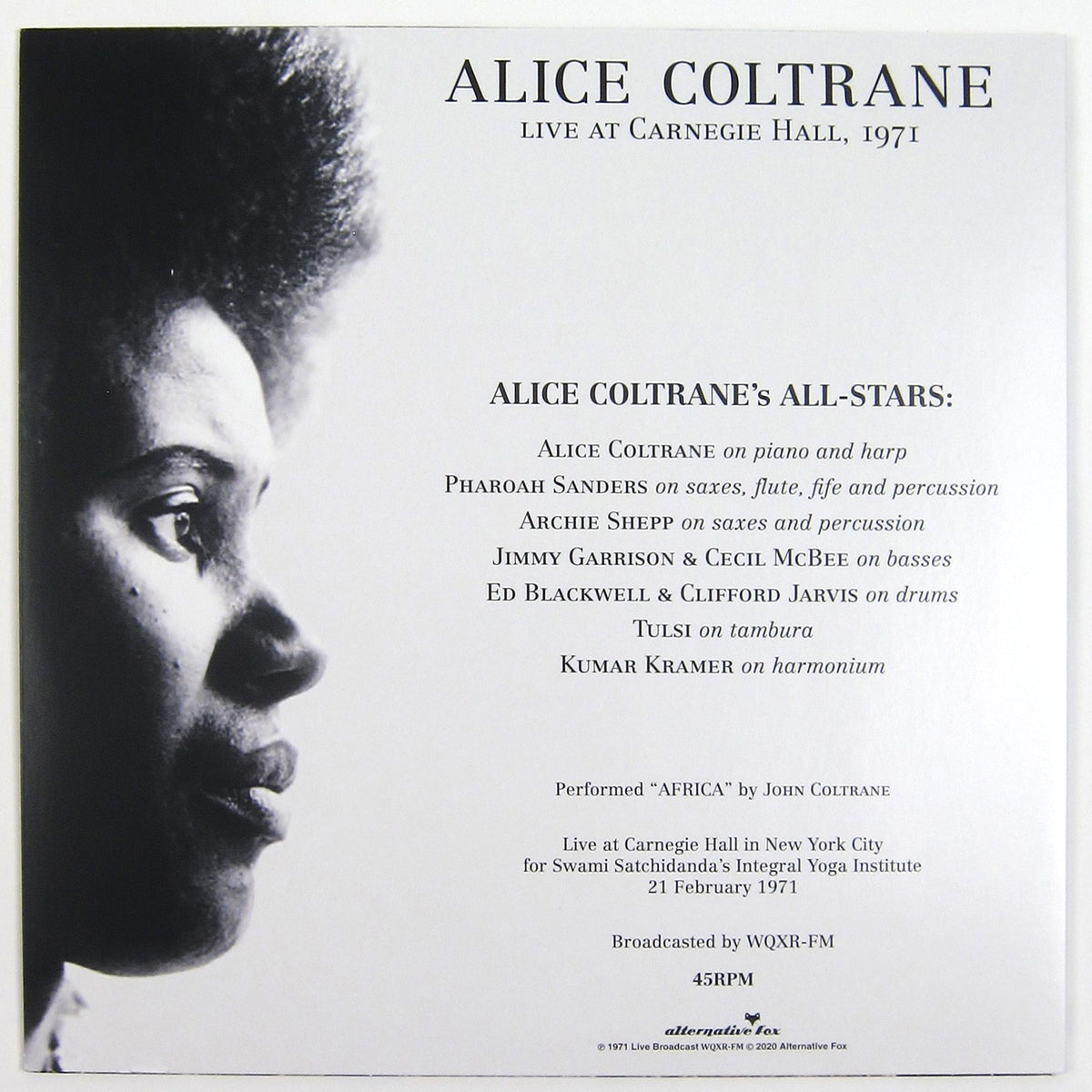 Alice Coltrane: Africa Live At The Carnegie Hall Vinyl LP