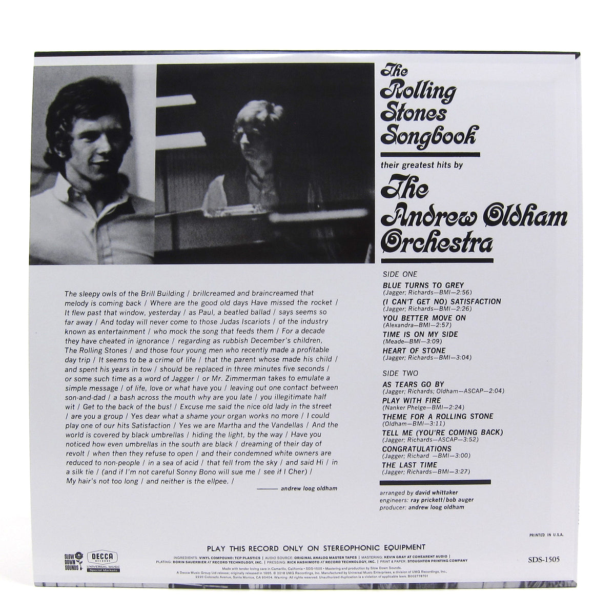 Andrew Oldham Orchestra: The Rolling Stones Songbook (Colored Vinyl) Vinyl LP (Record Store Day)