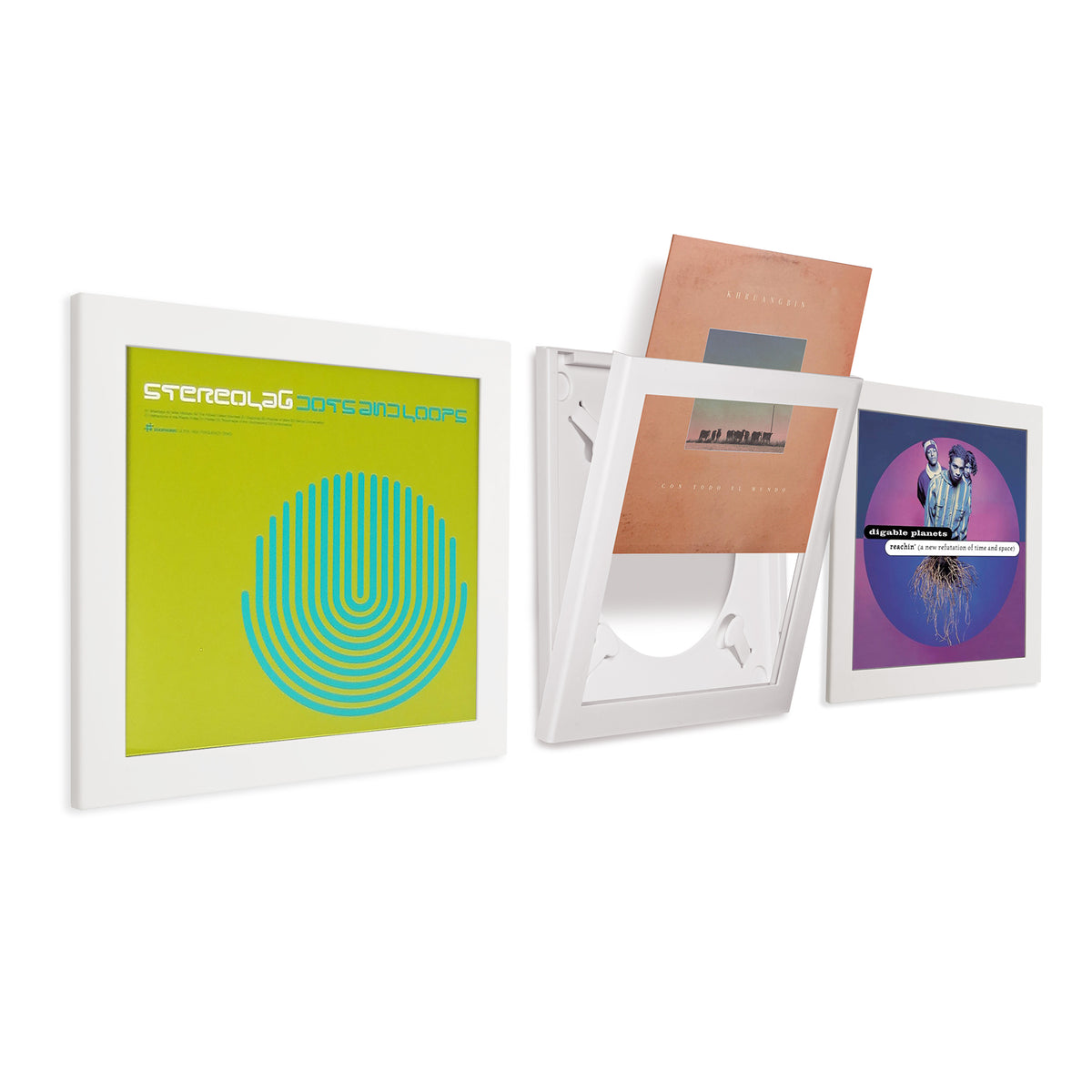 Art Vinyl: Play & Display Premium Vinyl Record Flip Frame - Triple Pack white