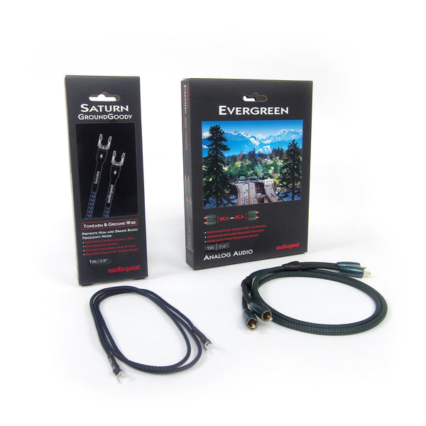 Audioquest: Evergreen RCA + Saturn Groundwire 1.0M Pack for Turntables