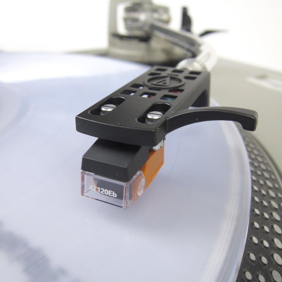 Audio-Technica: AT120EB Cartridge Mounted on AT-HS10BK Headshell