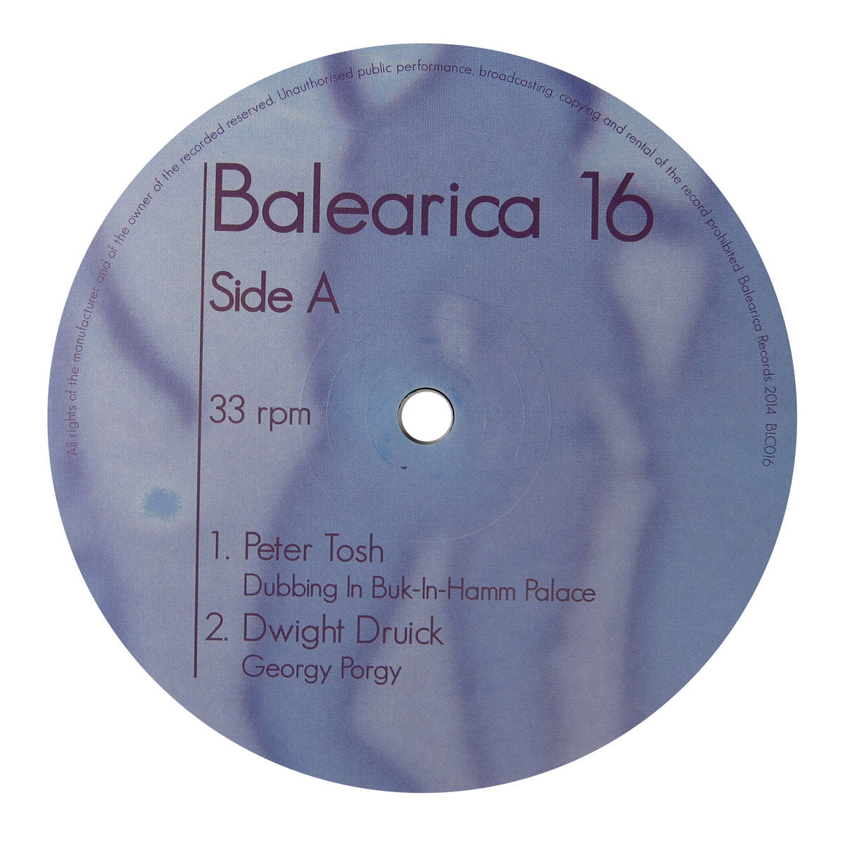 Balearica Records: Balearica #16 (Peter Tosh, Georgy Porgy) Vinyl 12""