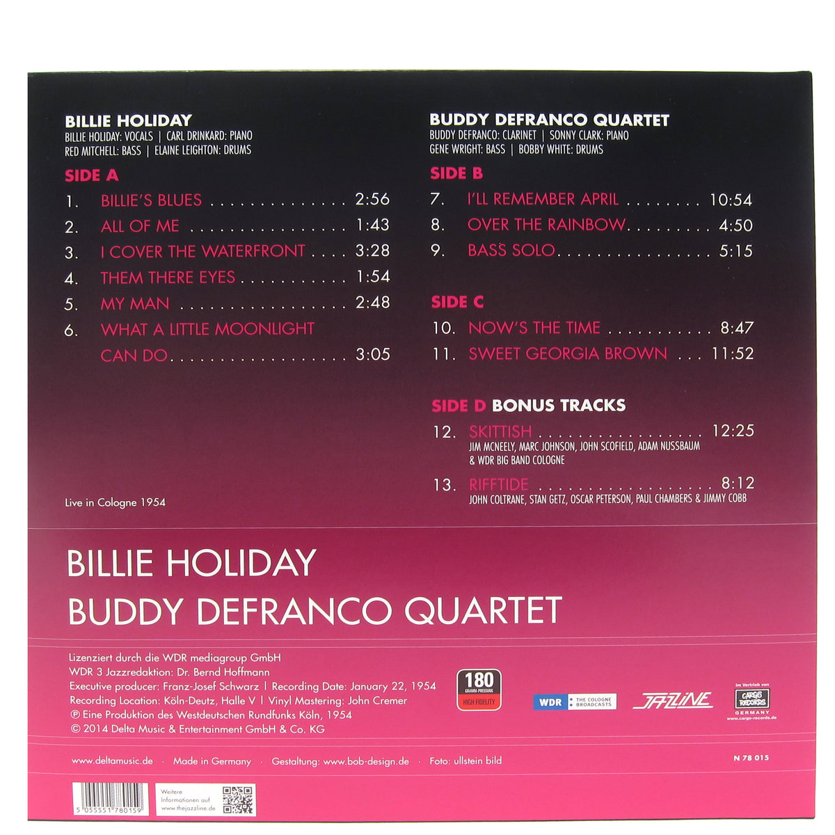 Billie Holiday / Buddy DeFranco Quartet: Live In Cologne 1954 Vinyl LP