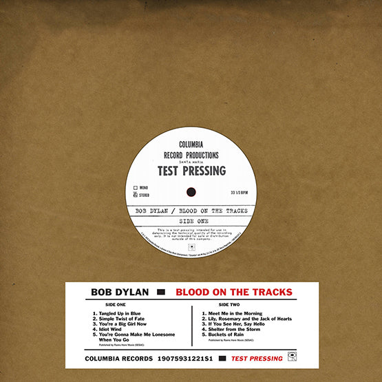 Bob Dylan: Blood On The Tracks - Original New York Test Pressing Vinyl LP (Record Store Day)