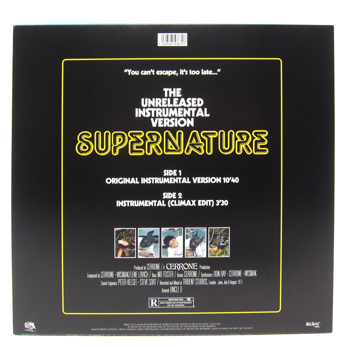 Cerrone: Supernature (The Unreleased Instrumental Version) Vinyl 12""