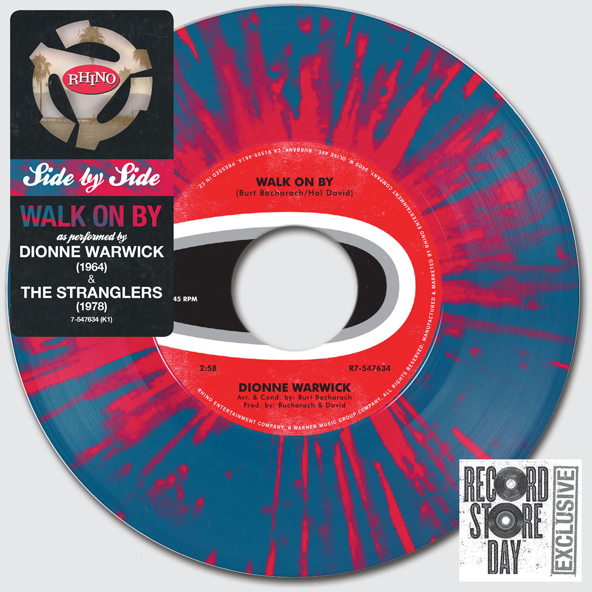 "Dionne Warwick / The Stranglers: Side By Side - Walk On By Vinyl 7"" (Record Store Day)"