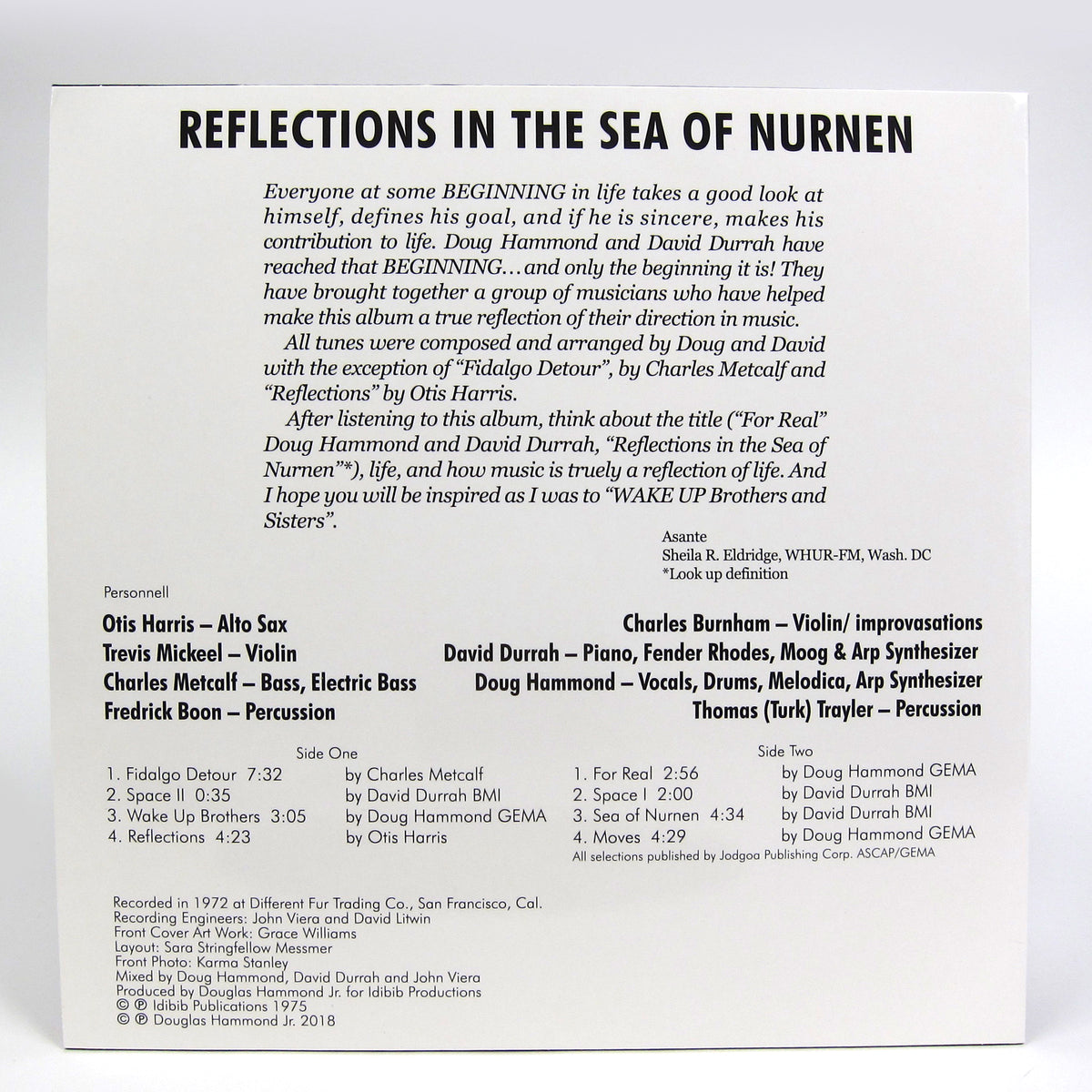 Doug Hammond & David Durrah: Reflections In The Sea Of Nurnen (180g) Vinyl LP