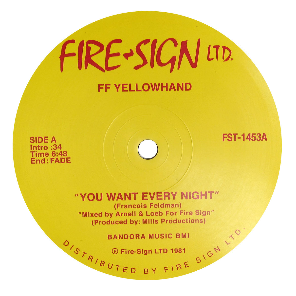 FF Yellowhand: You Want Every Night / Can You Feel It Vinyl (Italo) 12""