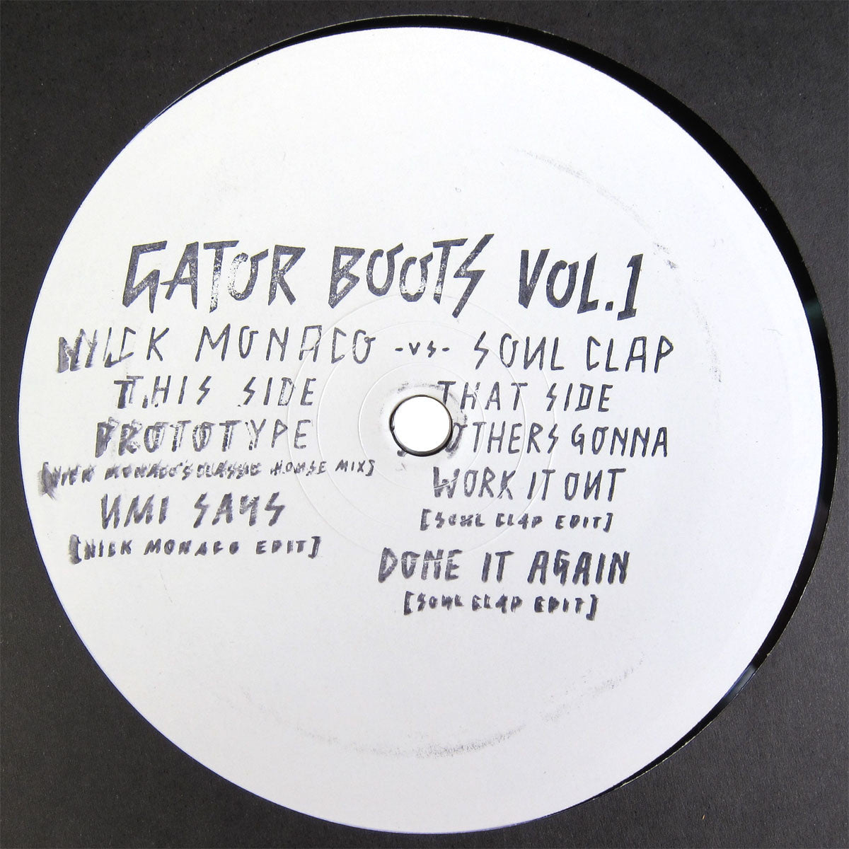 "Soul Clap & Nick Monaco: Gator Boots Vol.1 (Umi Says, Grace Jones) 12"" label"