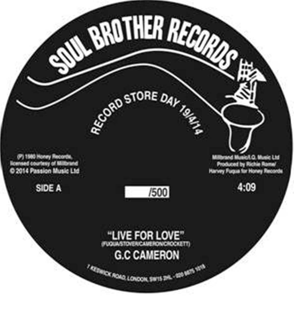 "G.C. Cameron: Live For Love Vinyl 7"" (Record Store Day 2014)"