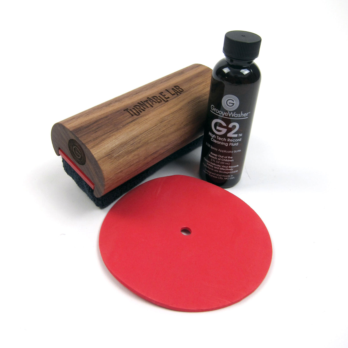 GrooveWasher: Record Cleaner Starter Kit - Turntable Lab Edition / Walnut