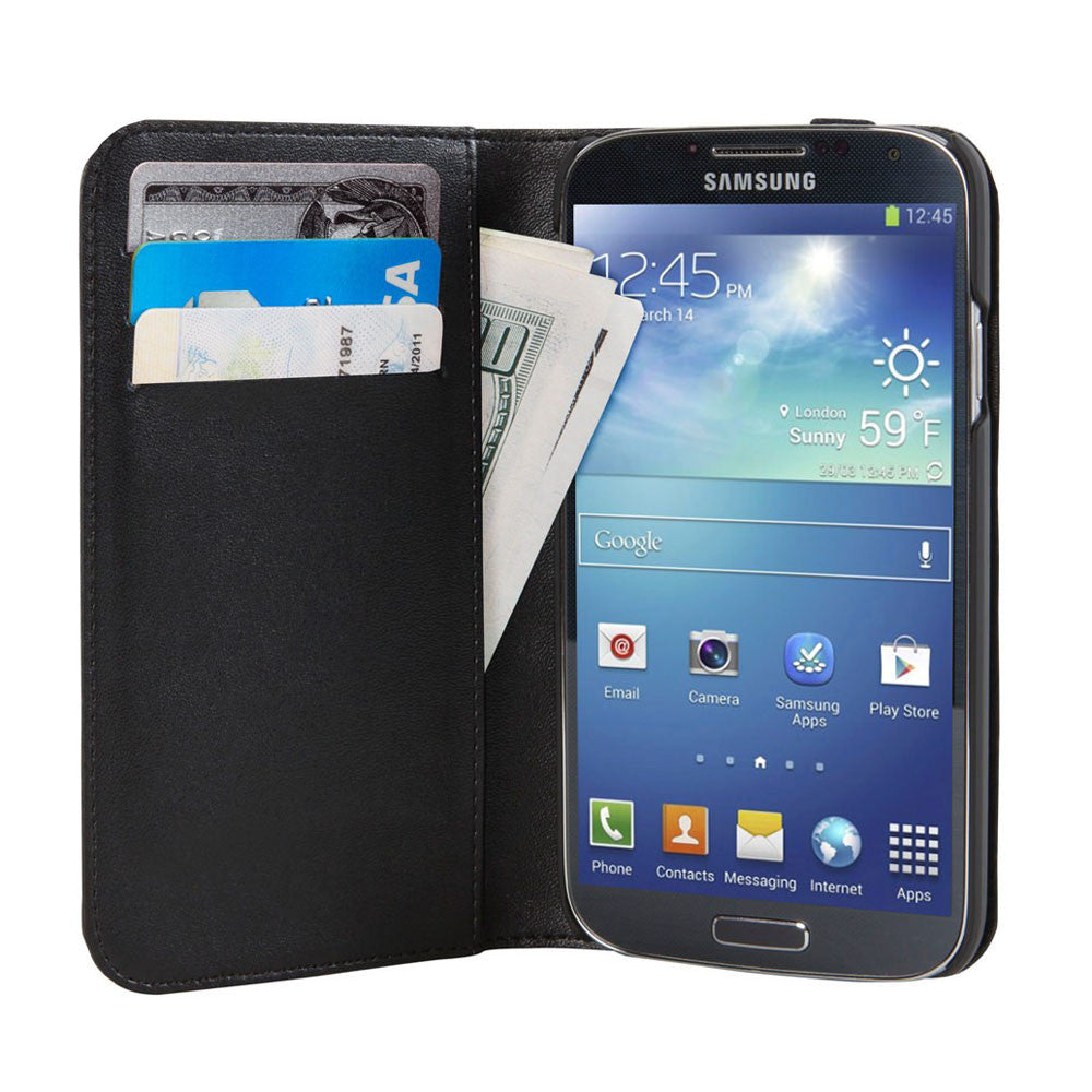 Hex: Icon Wallet for Samsung Galaxy S4 - Black / Grey (HX1507) open