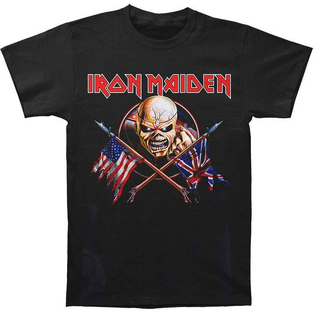 Iron Maiden: Crossed Flags Shirt - Black