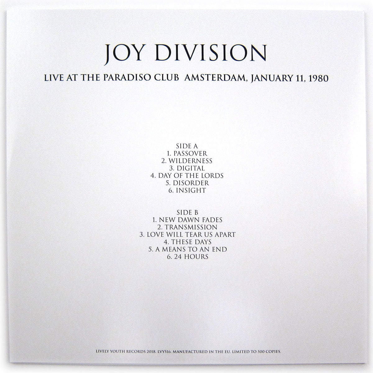 Joy Division: Live At The Paradiso Club, Amsterdam January 11, 1980 LP