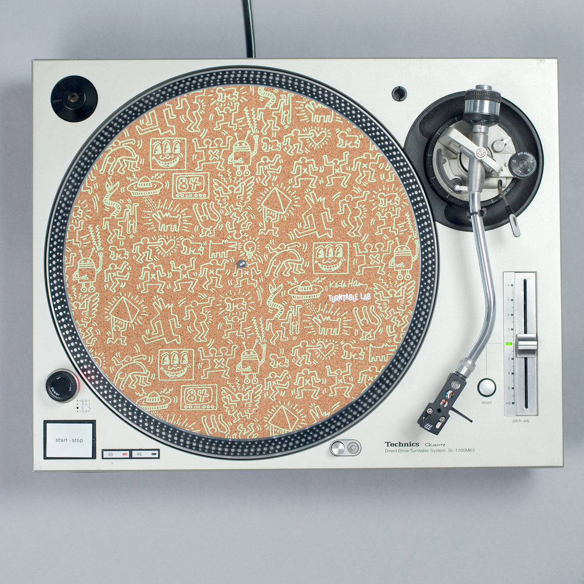 Turntable Lab: Keith Haring Cork Record Mat - Playground Green turntable