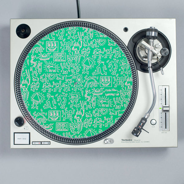 Turntable Lab: Keith Haring Slipmat Record Mat - Green turntable