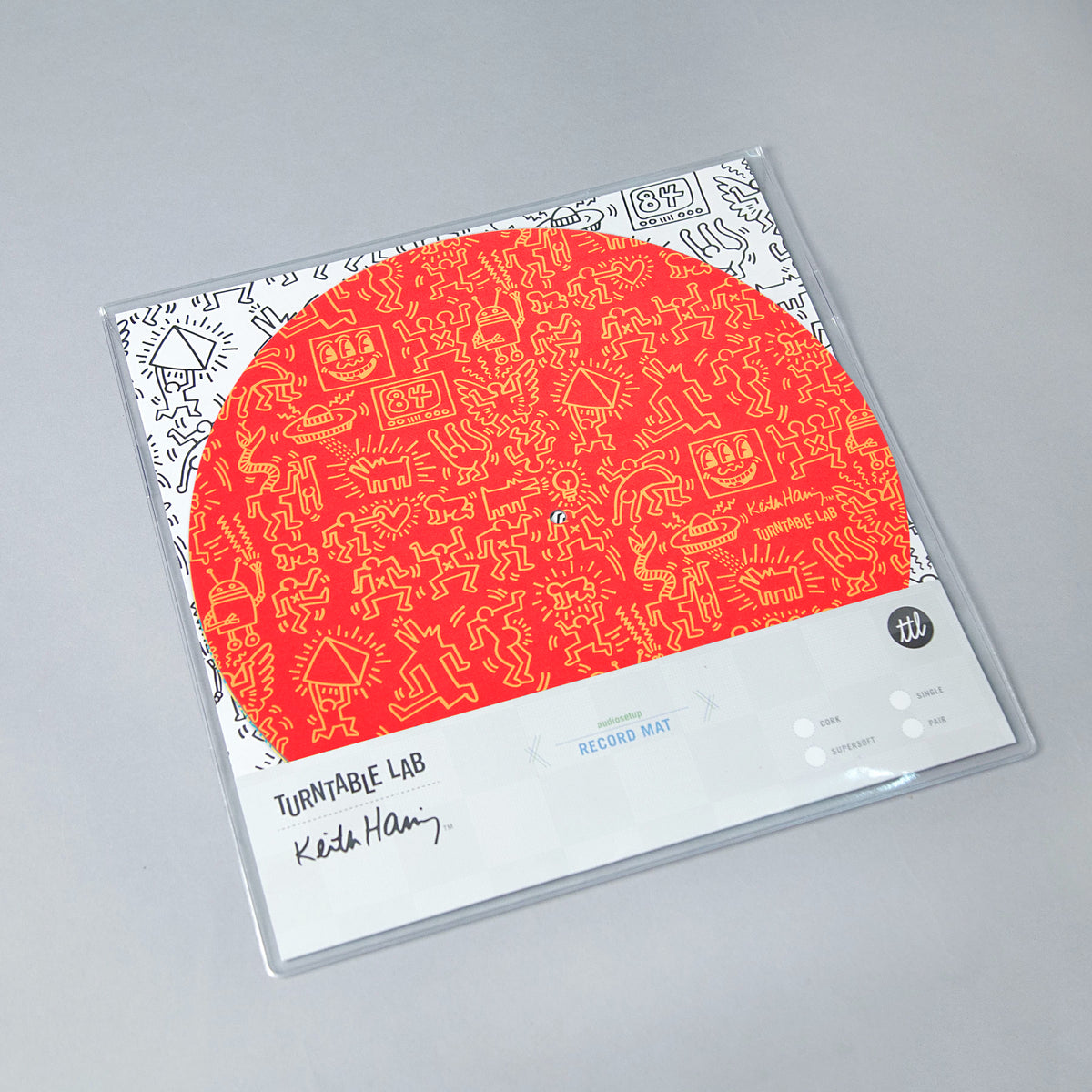 Turntable Lab: Keith Haring Slipmat Record Mat - Red packaging