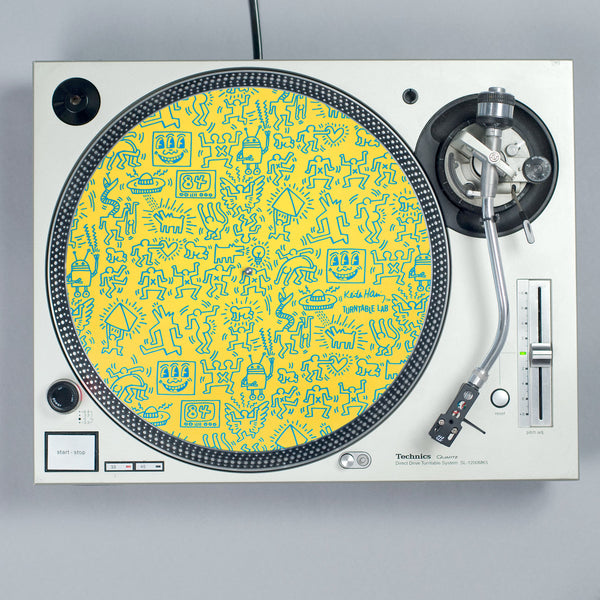 Turntable Lab: Keith Haring Slipmat Record Mat - Yellow turntable