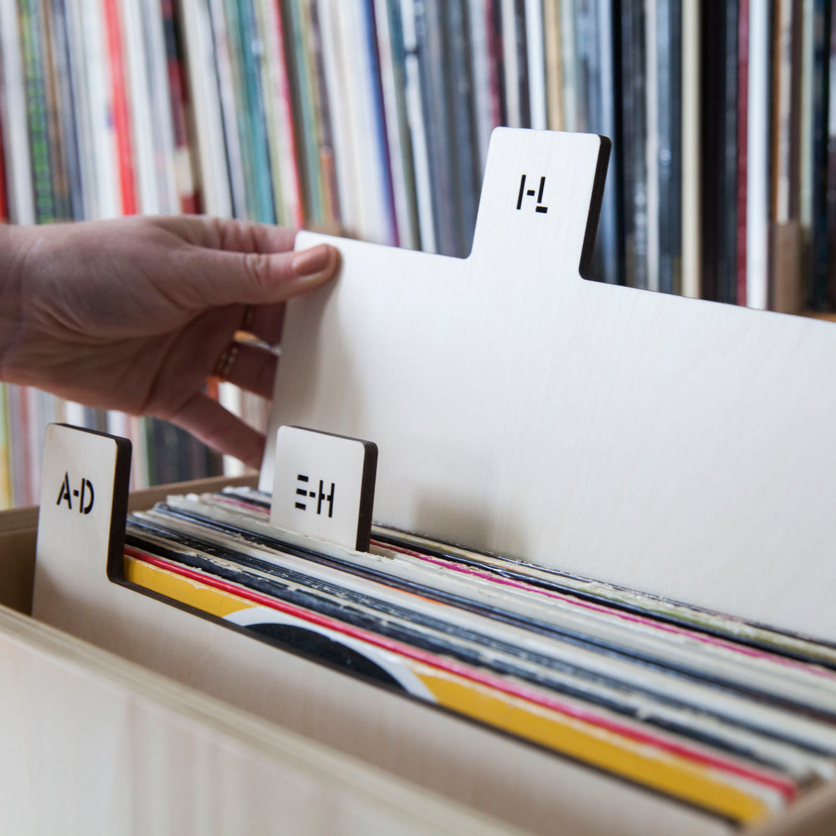 "Koeppel Design: Wooden 12"" Record Dividers - Stencil Font / Vertical"