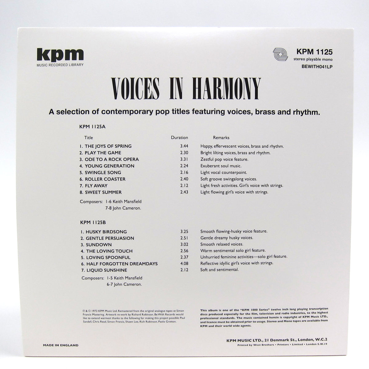 Keith Mansfield / John Cameron: Voices In Harmony (KPM Music Library, 180g) Vinyl LP
