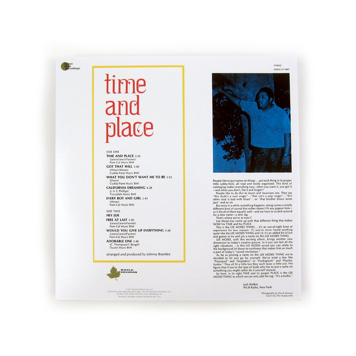 Lee Moses: Time and Place (Colored Vinyl) Vinyl LP